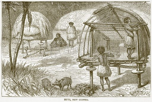 Huts, New Guinea. Illustration from Notable Voyagers by William Kingston (George Routledge, 1885).