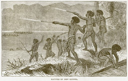Natives of New Guinea. Illustration from Notable Voyagers by William Kingston (George Routledge, 1885).