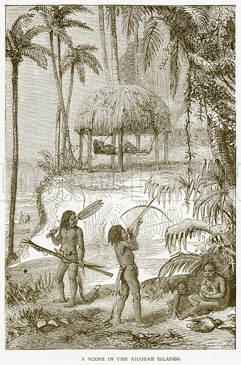 A Scene in the Nicobar Islands. Illustration from Notable Voyagers by William Kingston (George Routledge, 1885).