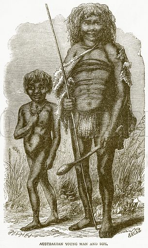 Australian Young Man and Boy. Illustration from Notable Voyagers by William Kingston (George Routledge, 1885).