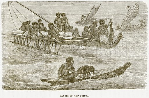 Canoes of New Guinea. Illustration from Notable Voyagers by William Kingston (George Routledge, 1885).