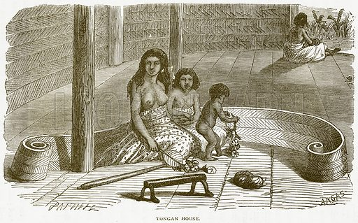 Tongan House. Illustration from Notable Voyagers by William Kingston (George Routledge, 1885).