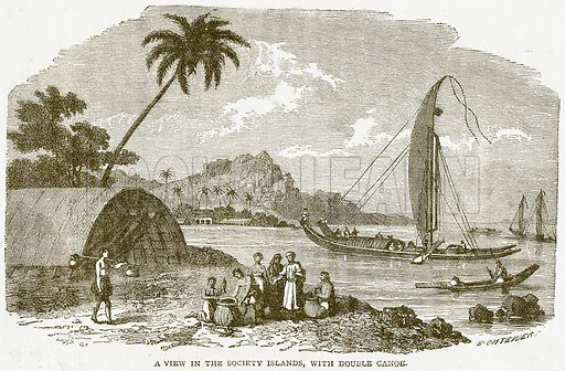 A View in the Society Islands, with Double Canoe. Illustration from Notable Voyagers by William Kingston (George Routledge, 1885).
