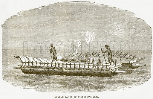 Double Canoe of the South Seas. Illustration from Notable Voyagers by William Kingston (George Routledge, 1885).