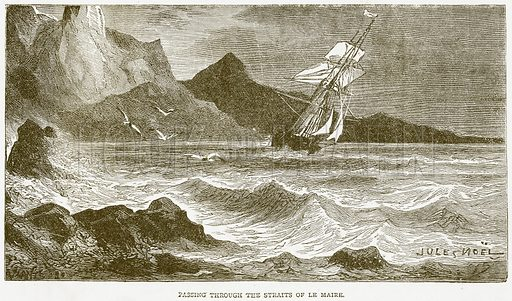 Passing through the Straits of Le Maire. Illustration from Notable Voyagers by William Kingston (George Routledge, 1885).
