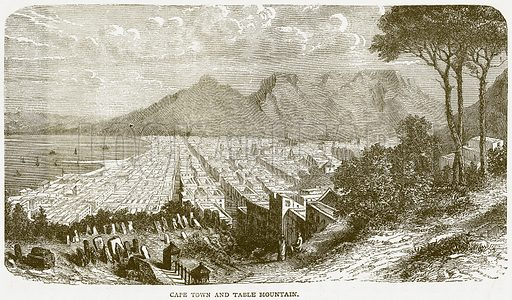 Cape Town and Table Mountain. Illustration from Notable Voyagers by William Kingston (George Routledge, 1885).