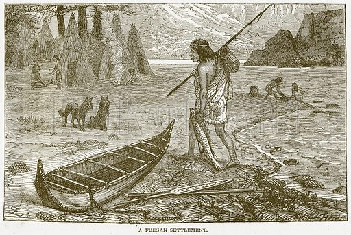A Fuegan Settlement. Illustration from Notable Voyagers by William Kingston (George Routledge, 1885).