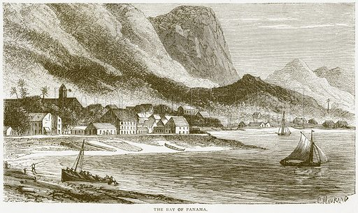 The Bay of Panama. Illustration from Notable Voyagers by William Kingston (George Routledge, 1885).