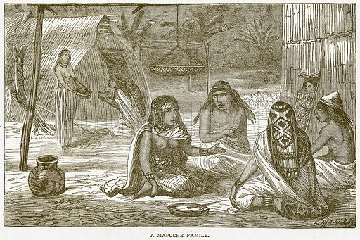 A Mapuche Family. Illustration from Notable Voyagers by William Kingston (George Routledge, 1885).