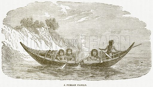 A Fuegan Family. Illustration from Notable Voyagers by William Kingston (George Routledge, 1885).
