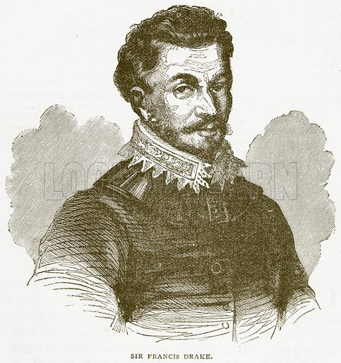 Sir Francis Drake. Illustration from Notable Voyagers by William Kingston (George Routledge, 1885).