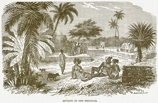 Natives of the Moluccas. Illustration from Notable Voyagers by William Kingston (George Routledge, 1885).