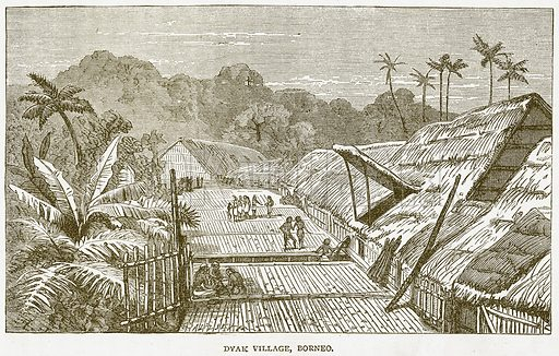 Dyak Village, Borneo. Illustration from Notable Voyagers by William Kingston (George Routledge, 1885).
