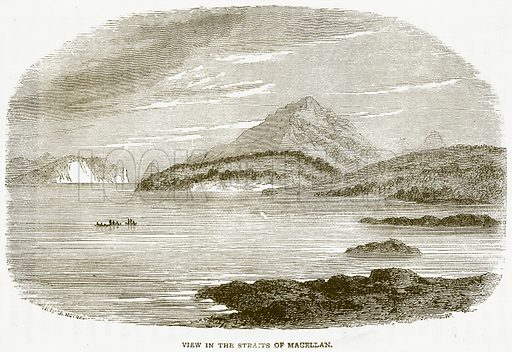 View in the Straits of Magellan. Illustration from Notable Voyagers by William Kingston (George Routledge, 1885).