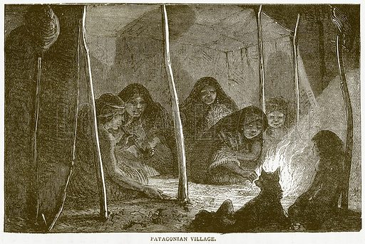 Patagonian Village. Illustration from Notable Voyagers by William Kingston (George Routledge, 1885).