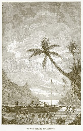 At the Island of Agediva. Illustration from Notable Voyagers by William Kingston (George Routledge, 1885).