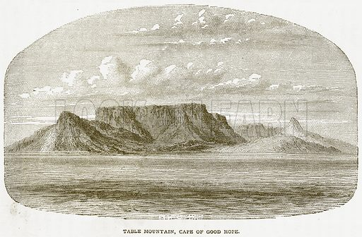 Table Mountain, Cape of Good Hope. Illustration from Notable Voyagers by William Kingston (George Routledge, 1885).