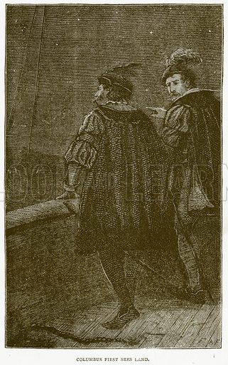 Columbus First Sees Land. Illustration from Notable Voyagers by William Kingston (George Routledge, 1885).