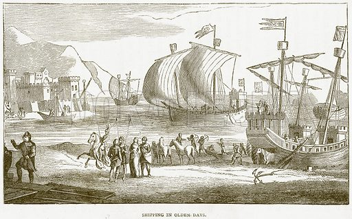 Shipping in Olden Days. Illustration from Notable Voyagers by William Kingston (George Routledge, 1885).