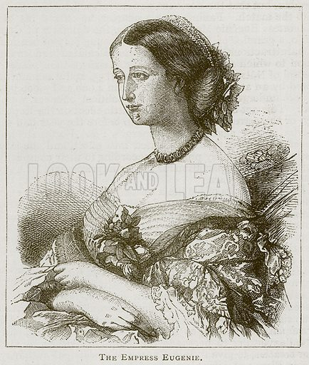 The Empress Eugenie. Illustration for A Popular History of France by H W Dulcken (Ward Lock c 1880).