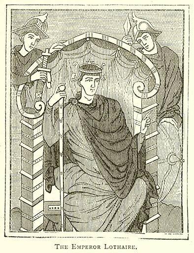 The Emperor Lothaire. Illustration for A Popular History of France by H W Dulcken (Ward Lock c 1880).