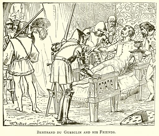 Bertrand du Guesclin and his Friends. Illustration for A Popular History of France by HW Dulcken (Ward Lock c 1880).