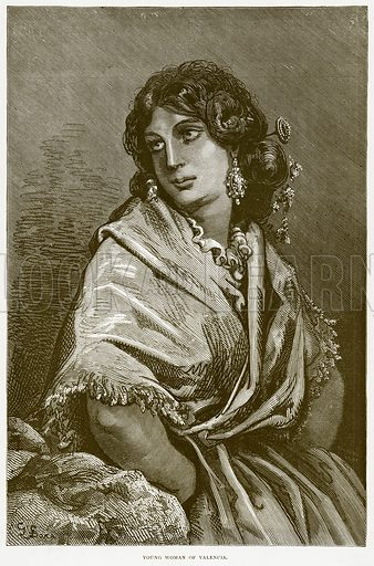 Young Woman of Valencia. Illustration from Spanish Pictures (Religious Tract Society, c 1875).