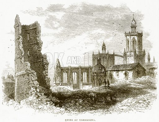 Ruins at Tarragona. Illustration from Spanish Pictures (Religious Tract Society, c 1875).