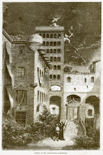 Prison of the Inquisition, Barcelona. Illustration from Spanish Pictures (Religious Tract Society, c 1875).