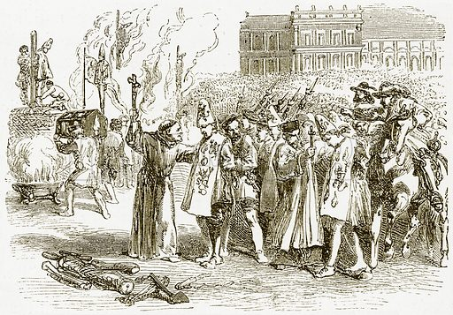 Burning at the stake.  Illustration from Spanish Pictures (Religious Tract Society, c 1875).