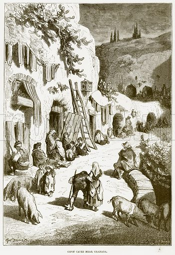 Gipsy Caves near Granada. Illustration from Spanish Pictures (Religious Tract Society, c 1875).