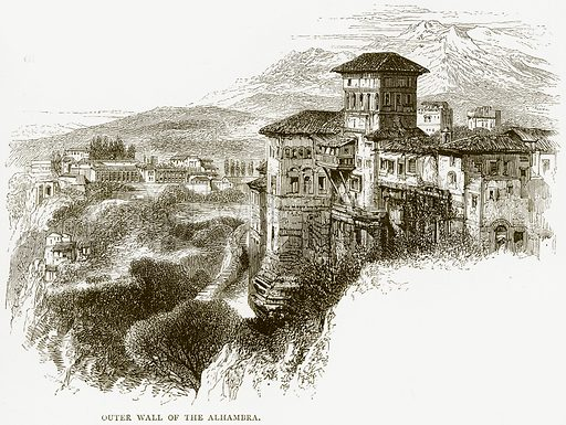 Outer Wall of the Alhambra. Illustration from Spanish Pictures (Religious Tract Society, c 1875).
