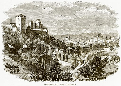 Granada and the Alhambra. Illustration from Spanish Pictures (Religious Tract Society, c 1875).
