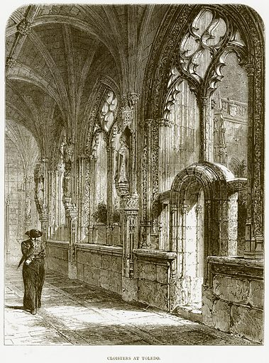 Cloisters at Toledo. Illustration from Spanish Pictures (Religious Tract Society, c 1875).