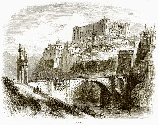 Toledo. Illustration from Spanish Pictures (Religious Tract Society, c 1875).
