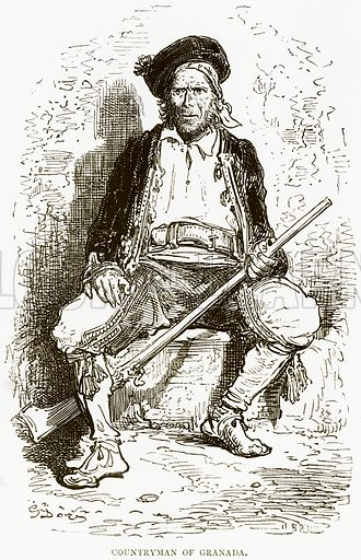 Countryman of Granada. Illustration from Spanish Pictures (Religious Tract Society, c 1875).
