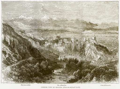 General View of Granada. The Generalliffe. The Alhambra. City of Granada. Illustration from Spanish Pictures (Religious Tract Society, c 1875).