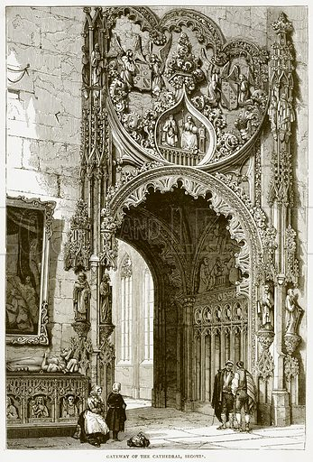Gateway of the Cathedral, Segovia. Illustration from Spanish Pictures (Religious Tract Society, c 1875).