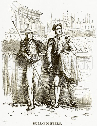 Bull-Fighters. Illustration from Spanish Pictures (Religious Tract Society, c 1875).