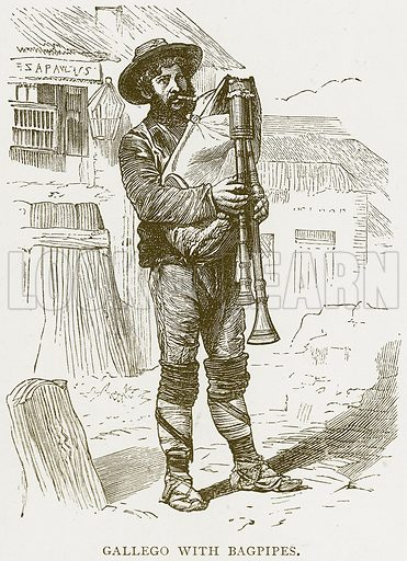 Gallego with Bagpipes. Illustration from Spanish Pictures (Religious Tract Society, c 1875).