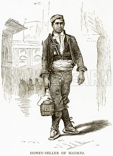 Honey-Seller of Madrid. Illustration from Spanish Pictures (Religious Tract Society, c 1875).