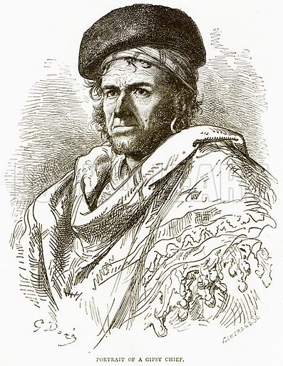 Portrait of a Gipsy Chief. Illustration from Spanish Pictures (Religious Tract Society, c 1875).