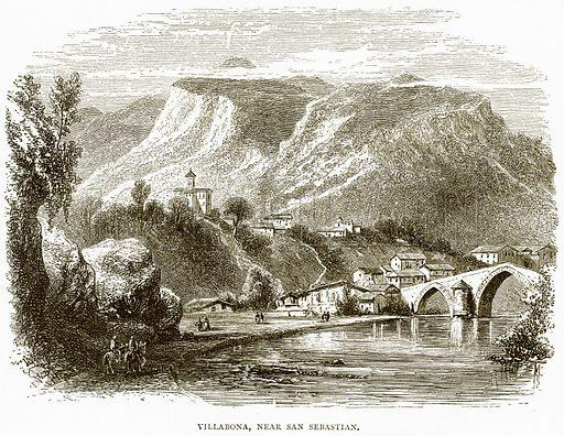 Villabona, near San Sebastian. Illustration from Spanish Pictures (Religious Tract Society, c 1875).
