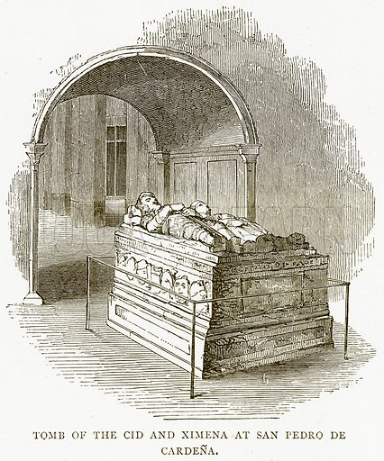 Tomb of the Cid and Ximena at San Pedro de Cardena. Illustration from Spanish Pictures (Religious Tract Society, c 1875).