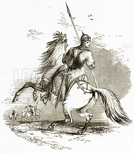 Knight on horse.  Illustration from Spanish Pictures (Religious Tract Society, c 1875).