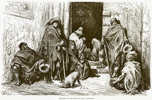 Beggars at the Door of the Cathedral. Illustration from Spanish Pictures (Religious Tract Society, c 1875).
