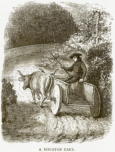 A Biscayan Cart. Illustration from Spanish Pictures (Religious Tract Society, c 1875).