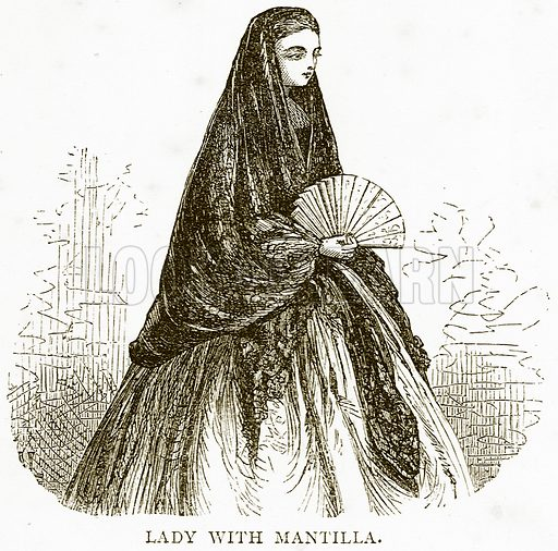Lady with Mantilla. Illustration from Spanish Pictures (Religious Tract Society, c 1875).