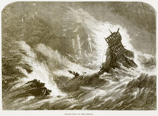 Destruction of the Armada. Illustration from Spanish Pictures (Religious Tract Society, c 1875).