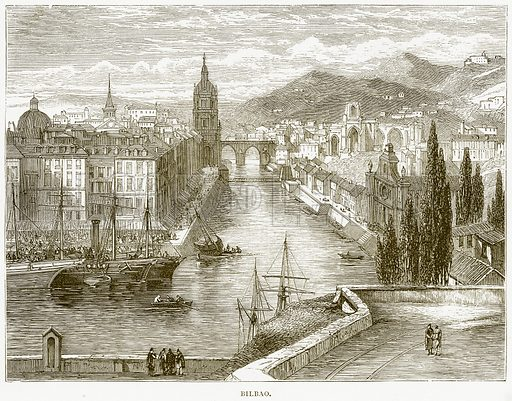 Bilbao. Illustration from Spanish Pictures (Religious Tract Society, c 1875).